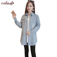 Fdfklak Jeans clothes for pregnant women long sleeve pregnancy shirt casual womens clothing tops maternity blouse ropa mujer