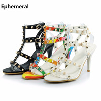 Women S Sexy Rivets Cut Outs Thin High Heels Plus Size 12 13 Sexy Open Round