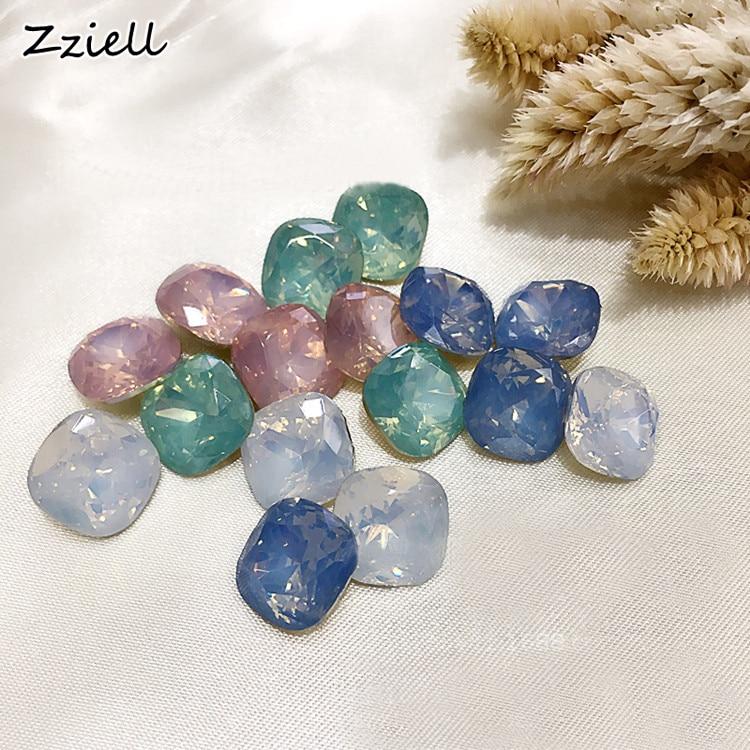 Zziell 10mm Crystal Colorful Opal Nail Art Rhinestone Decorations Glitter Gems 3D Manicure Books Accessory Tools 10pcs