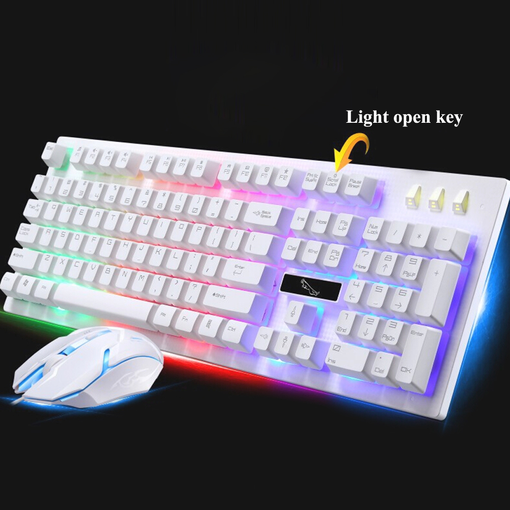 White G20 Backlight Keyboard USB Wired Keyboard Mouse Combos Gamer Keyboard Gaming Mouse With LED Light For PC Laptop