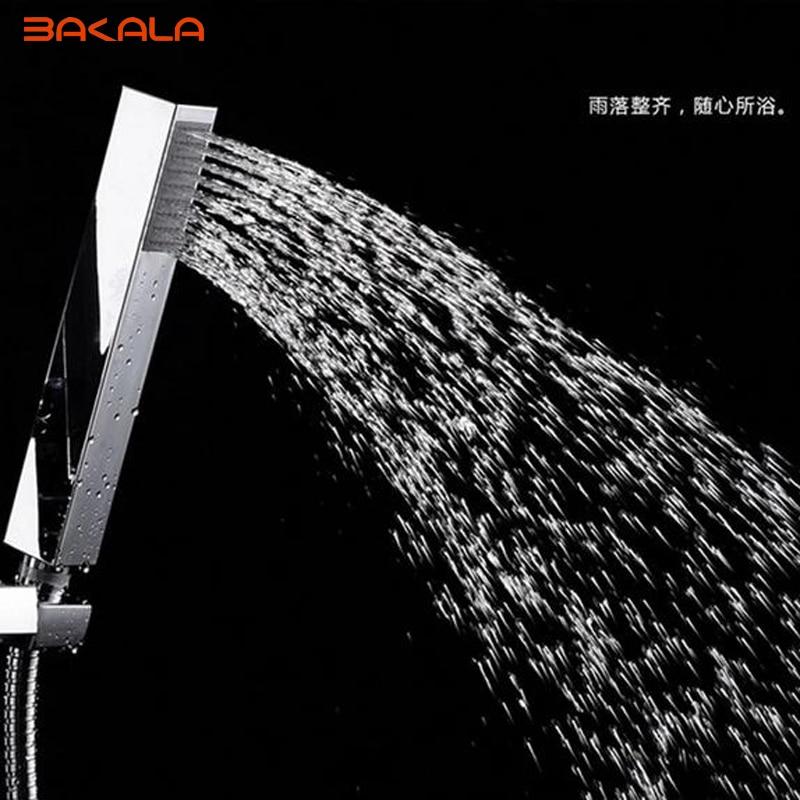 BAKALA Chromed ABS Handheld Showerheads Hand Shower Bathroom HandHeld Shower Head Square Hand Shower Chrome Finished