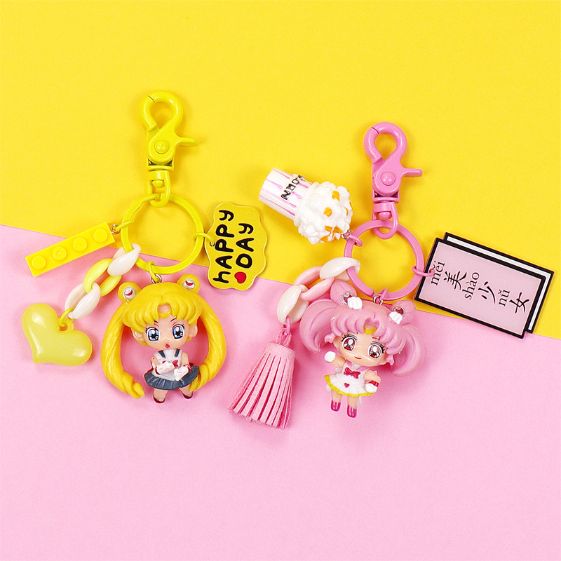 Kawaii Sailor Moon Doll Keychain Cartoon Bag Pendant Key Ring Holder Chimmy Handbag Charm Pendant For Children in Key Chains from Jewelry Accessories