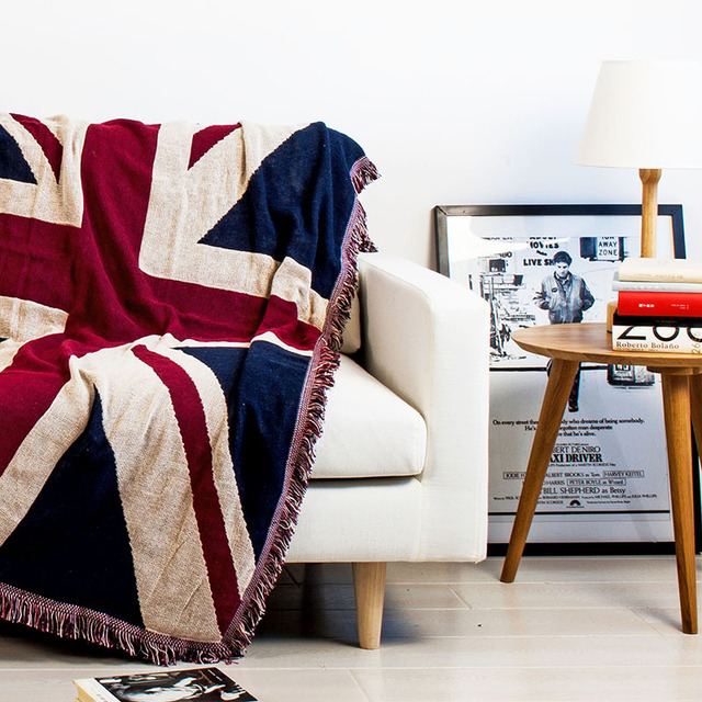 Tassels Union Jack Star Spangled Banner Soft Sofa Blanket Throws