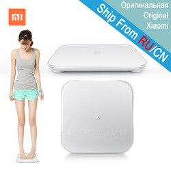 Оригинал Сяо mi электронные весы Smart весы для тела цифровой весы Поддержка Android 4,4 iOS 7 с Bluetooth 4,0 белый