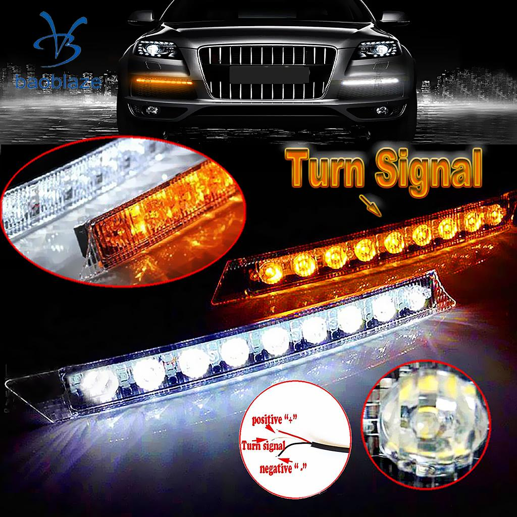 2 Pieces Universal 9 LED Daytime Running Light DRL Fog Lamp Day Light Daylight Kit 12V - White & Amber сумки pieces сумка page 9