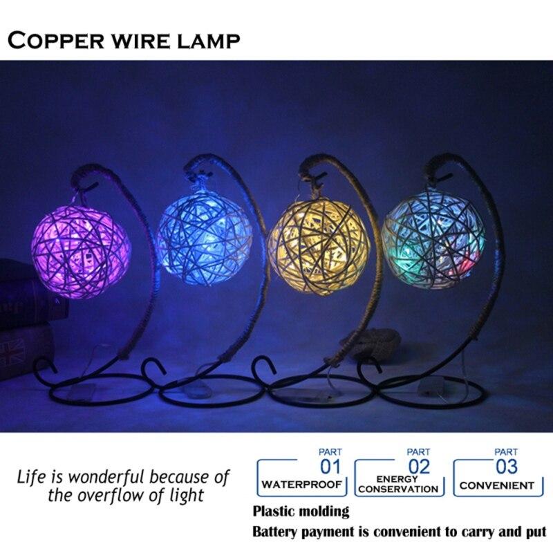 2018 New Home Lighting LED Retro Style Twine Copper Ball Cell Battery Purple Festival Lighting Bedroom Yard Lighting