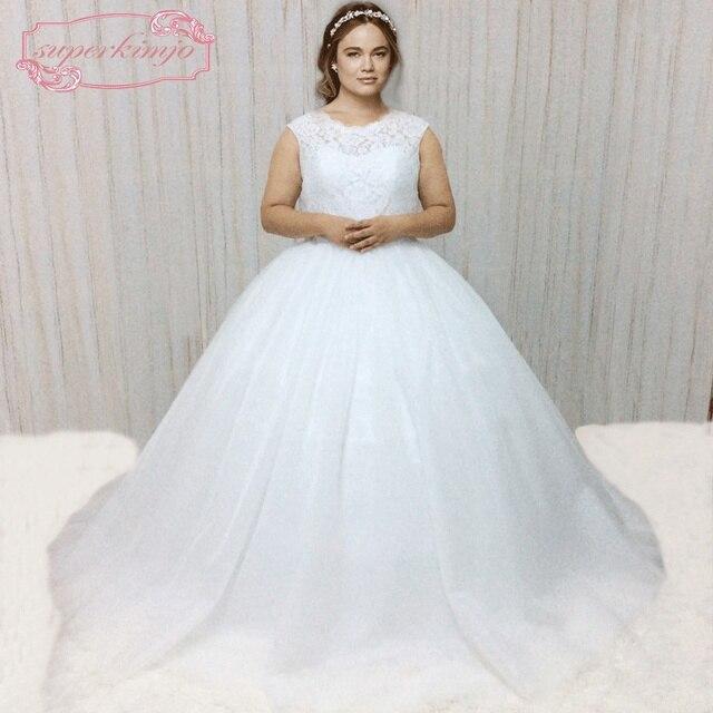 6c725c57a433 SuperKimJo 2018 Sem Mangas Branco Vestido de Noiva Plus Size Cristais Belt  Elegante Grávida Vestidos de