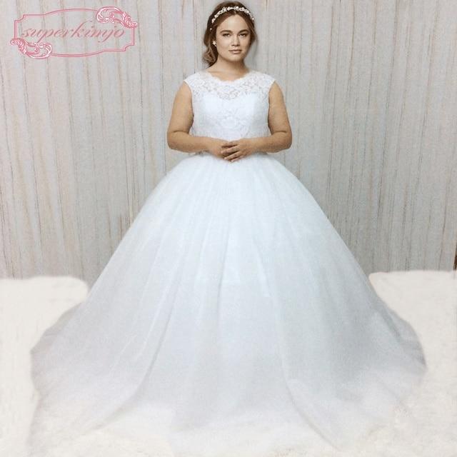 SuperKimJo 2018 Sleeveless White Wedding Dress Plus Size Crystals ...