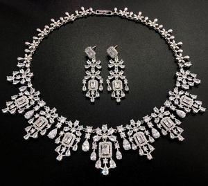 Image 3 - HIBRIDE Elegant Russian Women Bridal Jewelry Set AAA Cubic Zircon Pave Necklace Earring Sets for Engagement Accessories N 1048