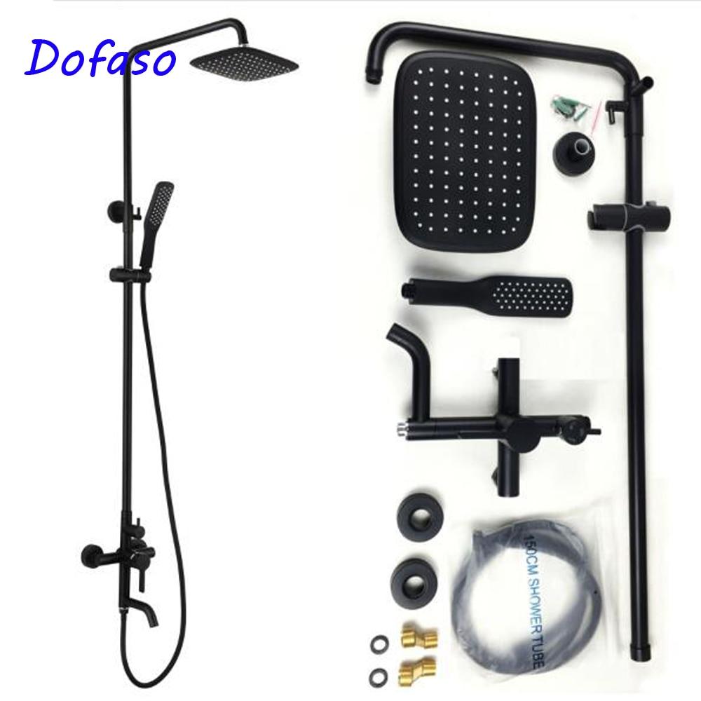 Dofaso haute qualité huile noir mat robinets de douche de bain antique en laiton noir robinet de baignoire ensemble de douche rétro