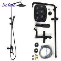 Dofaso high quality oil matte black bath shower faucets antique Brass Black Bathtub Faucet shower set retro