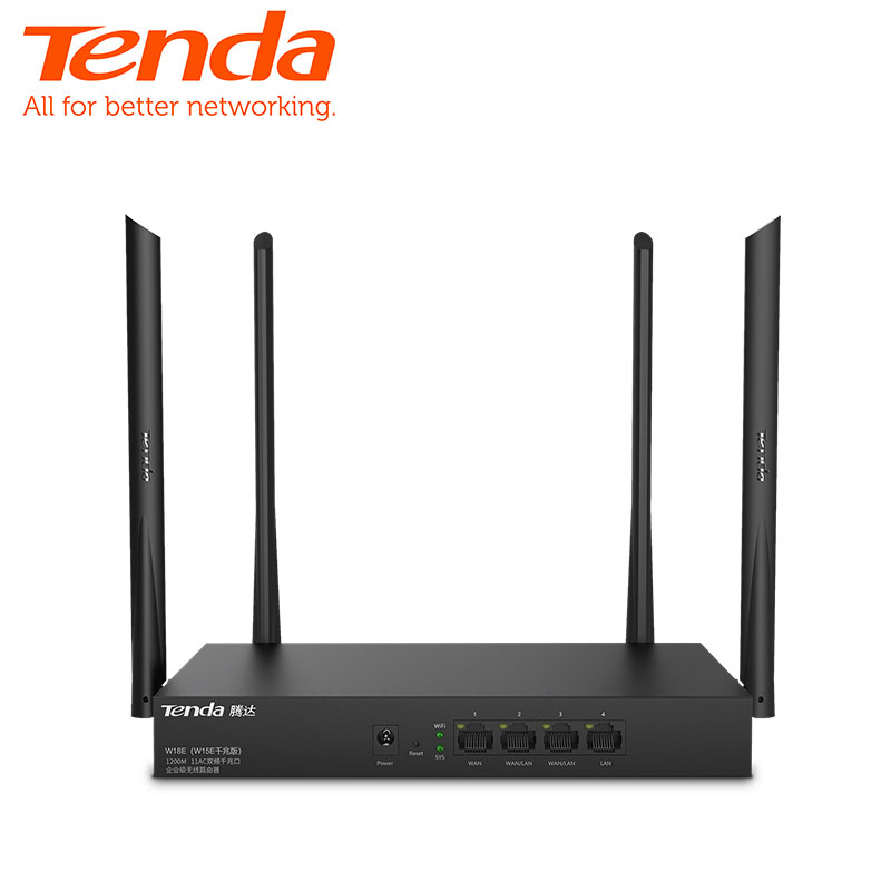 <font><b>Tenda</b></font> W18E AC1200M Wireless WiFi Router with 2.4G/5.0G High Gain Antenna Dual Band Wifi Repeater,App Control,VPN image