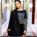 Classic Sweater New 2017 Women High Street Fashion Stripe Elegant Full Sleeve Slim Star Style Hot Sale Designer Tops