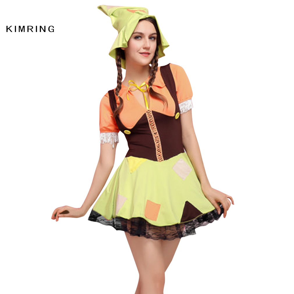 kimring cute scarecrow costume halloween costume women scarecrow cosplay sexy fancy dress adult carnival party costume - Unique Halloween Costume Women