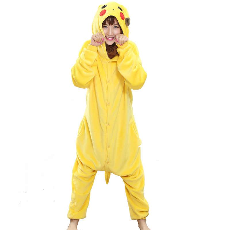 53585c156f09b Прекрасный Для женщин Onesie пижамы с Пикачу для взрослых Костюм смешной  вечерние фестиваль Покемон Детский Костюм