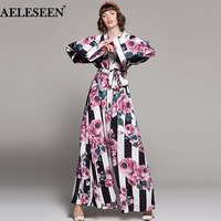 Vintage Rose Butterfly Print Pajamas Dresses 2018 Winter Fashion Full Sleeve Sashes Striped V Neck Loose