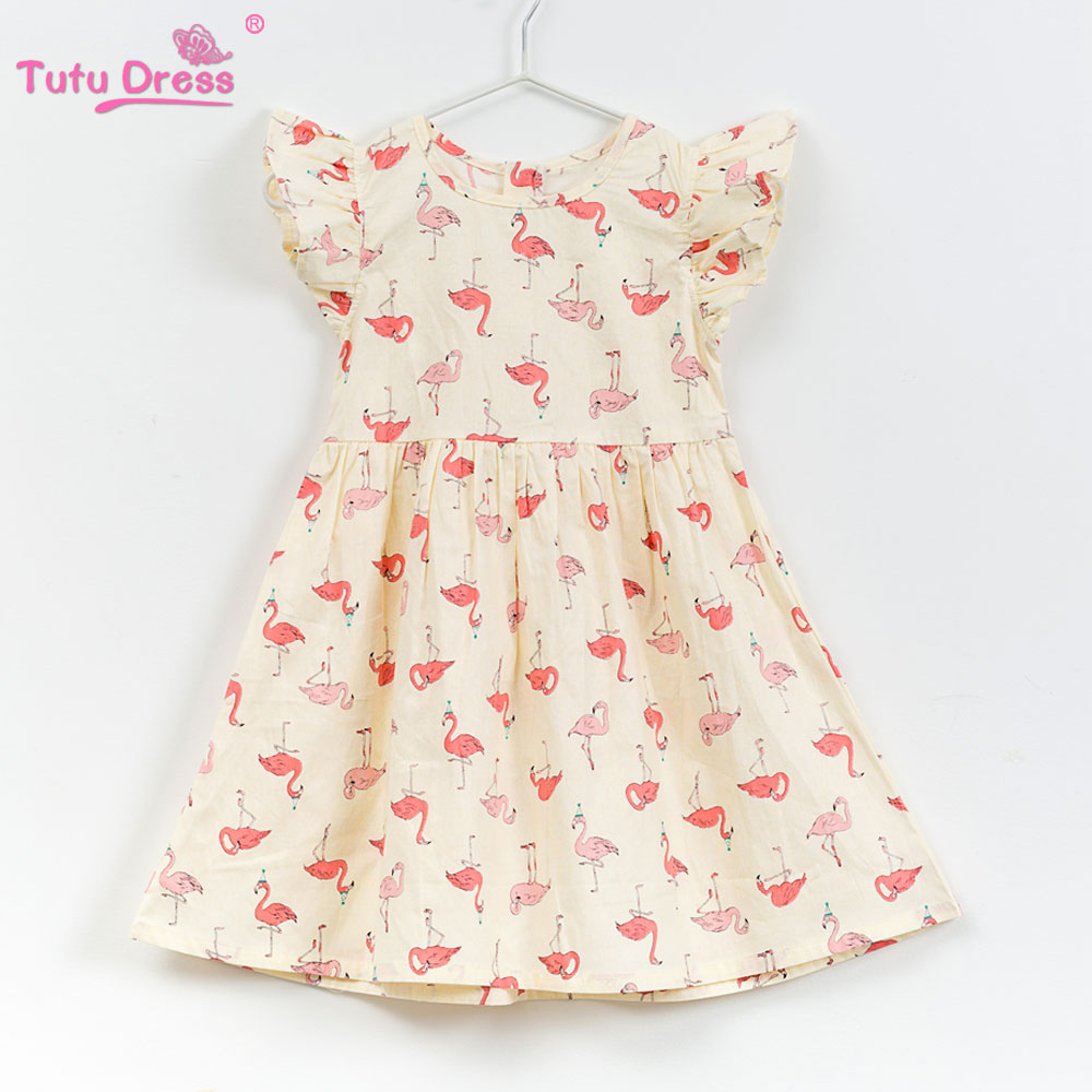 2018 Baby Girl Dress Cartoon Flamingos Floral Print Princess Dresses For Designer Formal Party Dress Kids Summer Clothes flamingos print dip hem top
