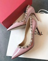 Women's European patent leather shallow mouth open toe rivet V home pointed fine stiletto leather women's high heels