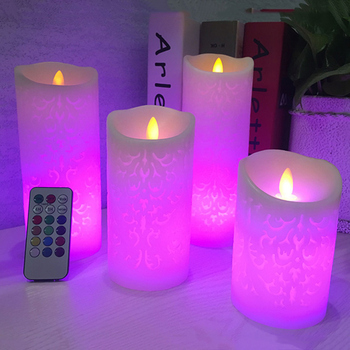 Dancing flame LED Candle with RGB Remote Control,Wax Pillar Candle for Wedding Christmas Decoration/room night light