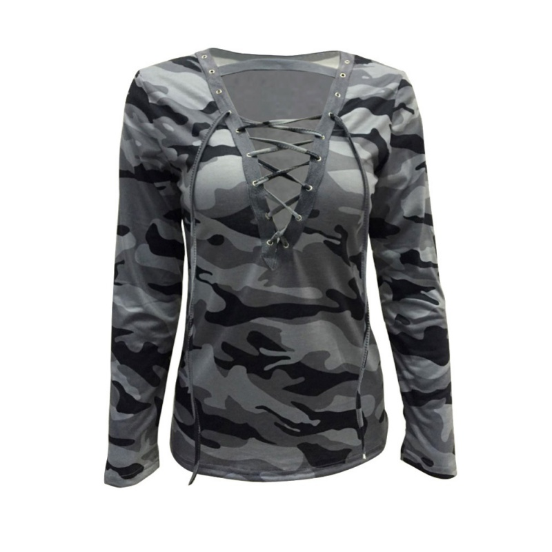 Fashion Women Deep V Camo Printed Military Hollow Out Lace Long Sleeve T-shirts Ladies Top Tees Shirt Clothing
