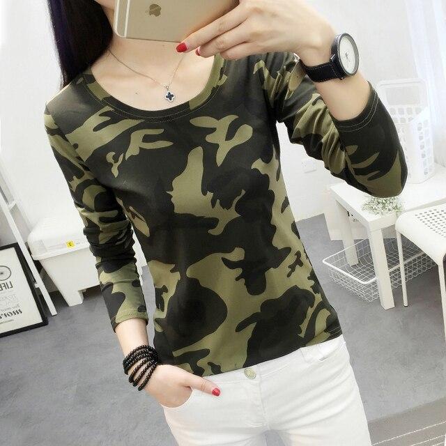 Fashion Women Camouflage T Shirt 2017 New Fall Cute Young -3251