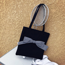 Miyahouse Large Capacity Shoulder Bag For Women Solid Color Messenger Bag With Bow For Female Canvas Material Crossbody Bag Lady