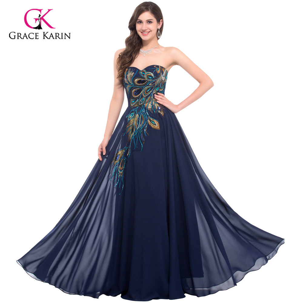 Grace Karin Evening Dresses Peacock Gowns Avondjurken Blue Black