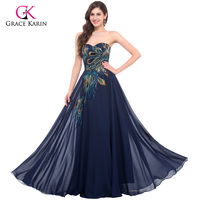 Grace Karin Evening Dresses Peacock Gowns Avondjurken Blue Black Purple Prom Gown Off Shoulder Plus Size Evening Dress 6168