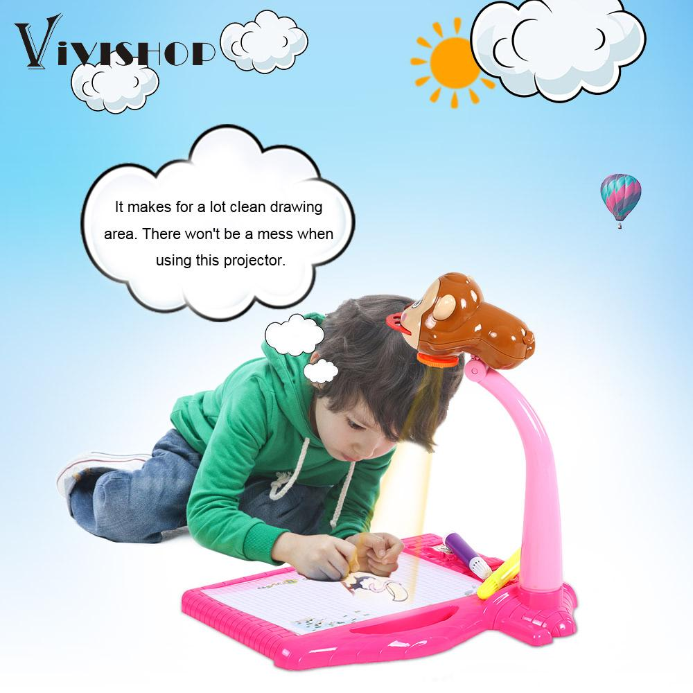 new multi functional kids drawing toys electric projector lamp coloring and painting projection drawing machine educational toys - Color Copy Machine