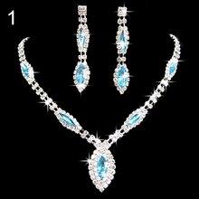 Bluelans Women Wedding Gift Bride Rhinestone Inlaid Pendant