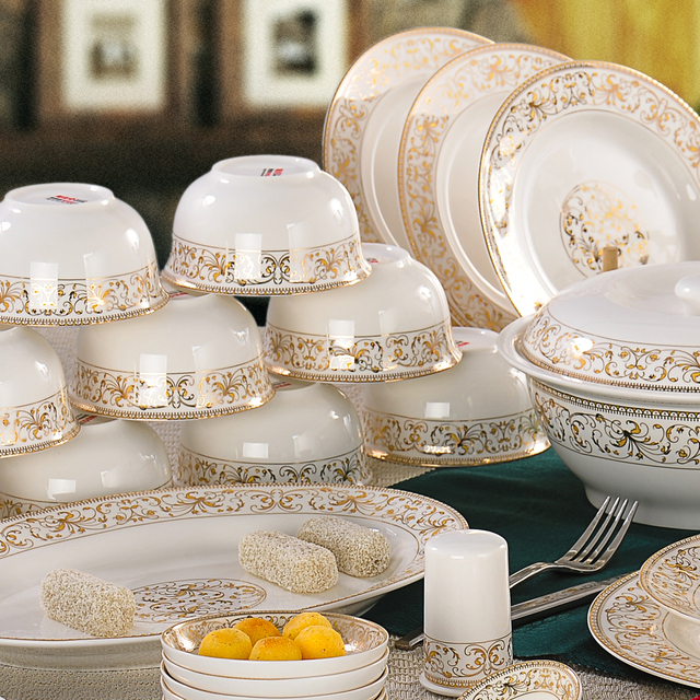 56 Pcs Westerm Ceramic Bone China Fine Porcelain Dinner Set With