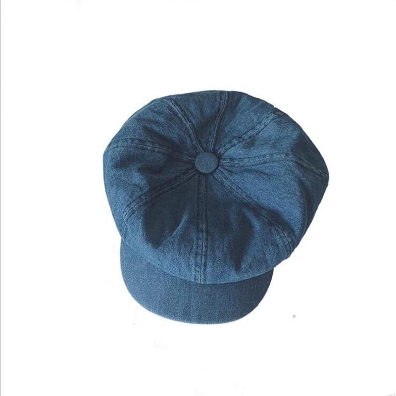 GAOKE Vintage Unisex Newsboy Denim Cap Autumn Cowboy Hat Women Male Octagonal Hat Cabbie Driver Cap Flat Top Korean Painter Hats