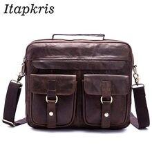 966bf79729bf Бизнес из натуральной кожи Портфели сумка для мужчин Повседневное дизайнер  ноутбук сумка-мессенджер чехол теплые