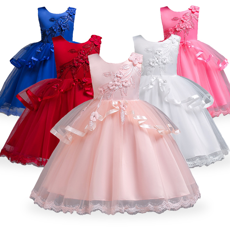 Woman princess social gathering gown youngsters wedding ceremony birthday elegant flower attire youngster bow gown child 4-10 years kids tutu clothes Clothes, Low cost Clothes, Woman princess social gathering...