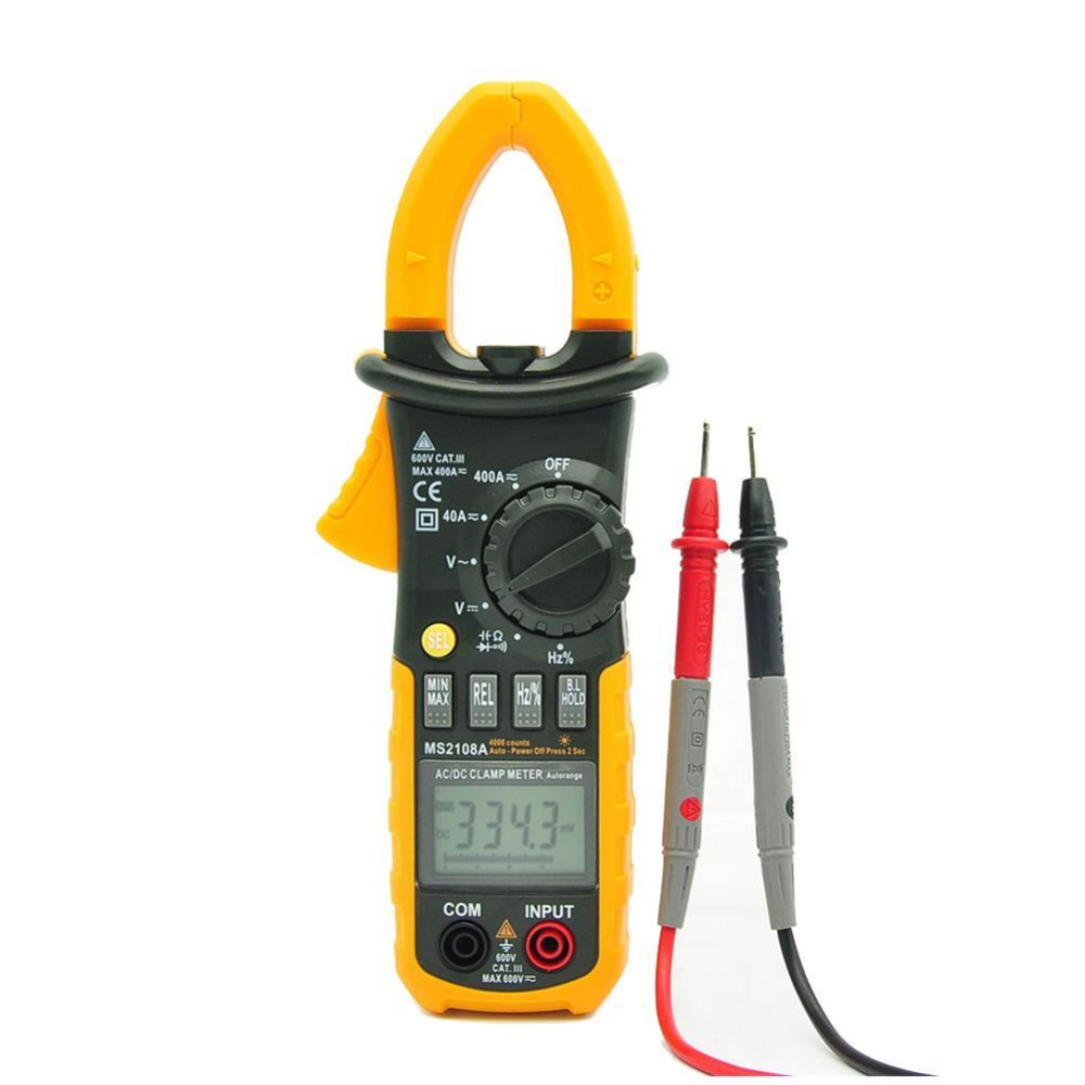 4000 Counts Digital Clamp Meter MS2108A Clamp Multimeter DC/AC Voltmeter Current Meter Resistance Capacitance Frequency Tester vc99 auto range 3 6 7 digital multimeter 20a resistance capacitance meter voltmeter ammeter alligator probe thermal couple tk