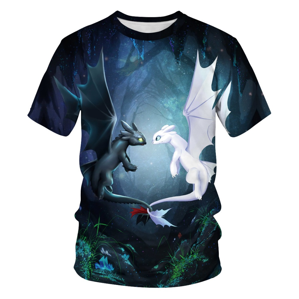 3D Printed How To Train Your Dragon Costumes T-shirt Light Fury Night Fury Cosplay Costume Men Women Short Sleeve Tops Tees