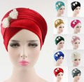 NEW luxury women hijab velvet Turban Head Wrap Extra Long velour tube indian Headwrap Scarf Tie with pearl bowknot brooch