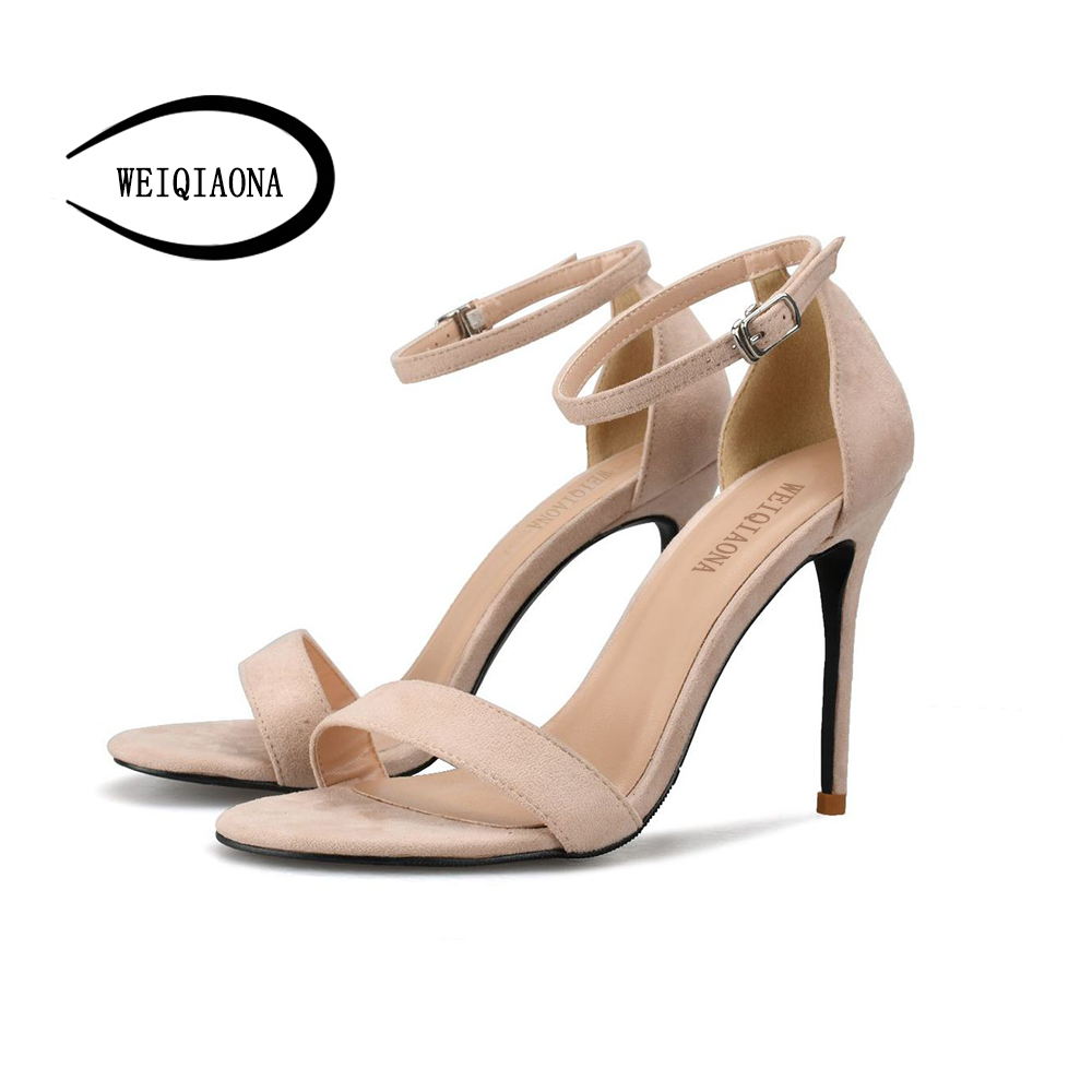 WEIQIAONA big Size 33-42 summer women shoes New fashion Ankle strap high heel sandals hollow Sexy open toe Party wedding shoes covibesco nude high heels sandals women ankle strap summer dress shoes woman open toe sandals sexy prom wedding shoes large size