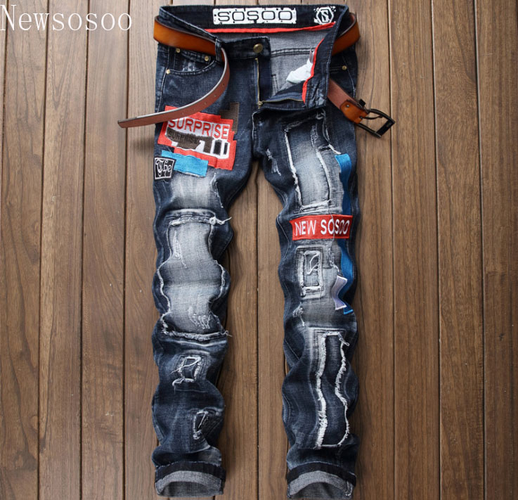 brand {Newsosoo} European American Style men jeans luxury mens denim trousers Slim Straight Patchwork blue hole jeans for men