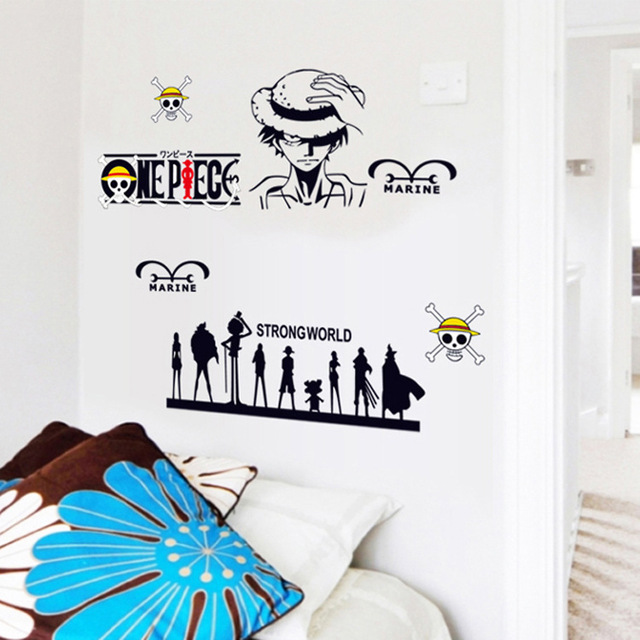new creative piece luffy removable wall stickers tv wall sofa