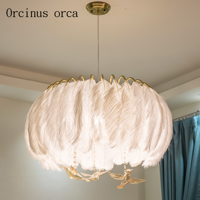 newest 5a1ec a90a8 US $162.68 17% OFF|American Pastoral white feather chandelier living room  Princess bedroom Nordic modern crystal crystal bird Chandelier-in Pendant  ...