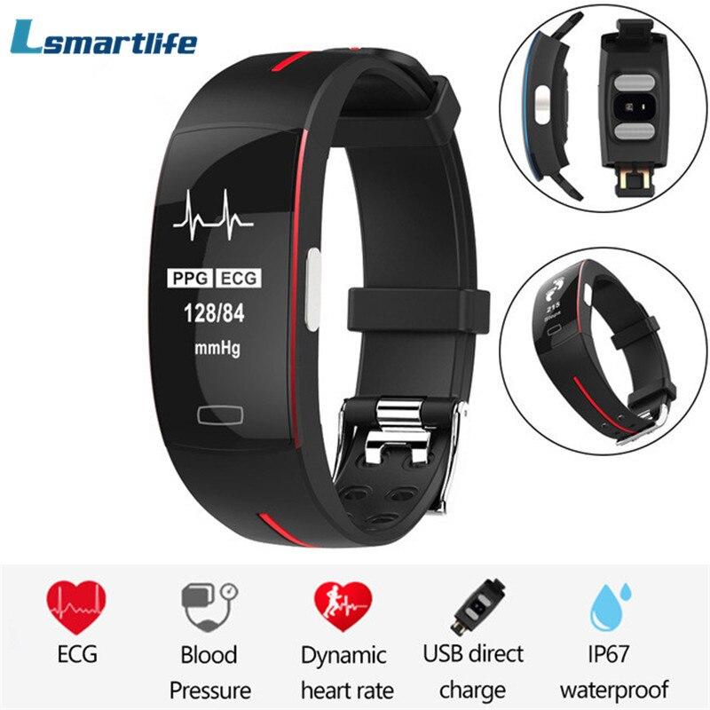 P3 fréquence cardiaque bande intelligente IP67 étanche Tracker d'activité Sport Fitness Bracelet fréquence cardiaque pression artérielle ECG + PPG moniteur montre-in Bracelets connectés from Electronique    1