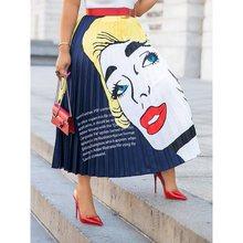 Pleated Skirt Women Stylish Cartoon Letter Print Street Casual Summer 2019 Ladies Elegant Blue Elastic High Waist Midi Skirts stylish print knot skirt for women