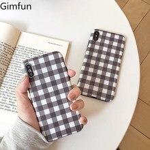 Gimfun Simple a cuadros gris teléfono caso arte Vintage funda de rejilla para iPhone 6S 7plus 8 X Xs X Max Tpu caso suave carcasa trasera protectora