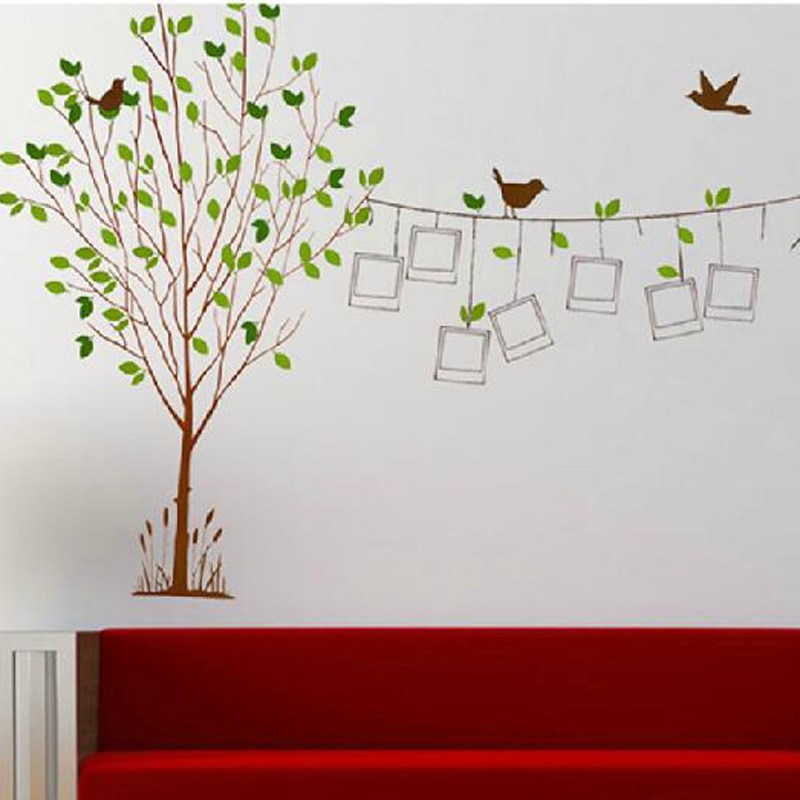 Big 60 90cm family picture photo frame tree bird wall for Big tree with bird wall decal deco art sticker mural
