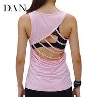 DANENJOY Bandage Gym Fitness Yoga T Shirt Top Sport Sleeveless Sportswear 2019 Women Workout Hollow Black Running Quick Dry Vest