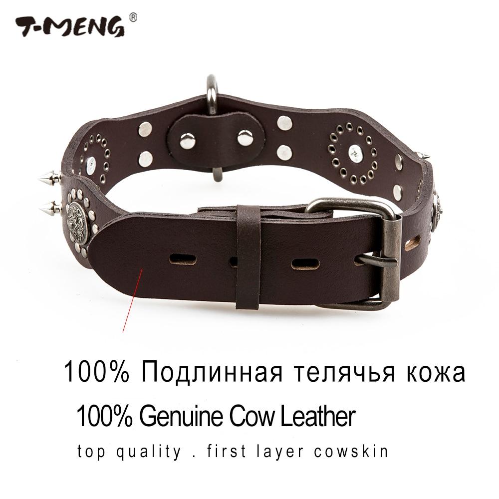 T-MENG Qeni Pet Dog Lëkurë origjinale Retro Style Sharp Spiked - Produkte për kafshet shtëpiake - Foto 6