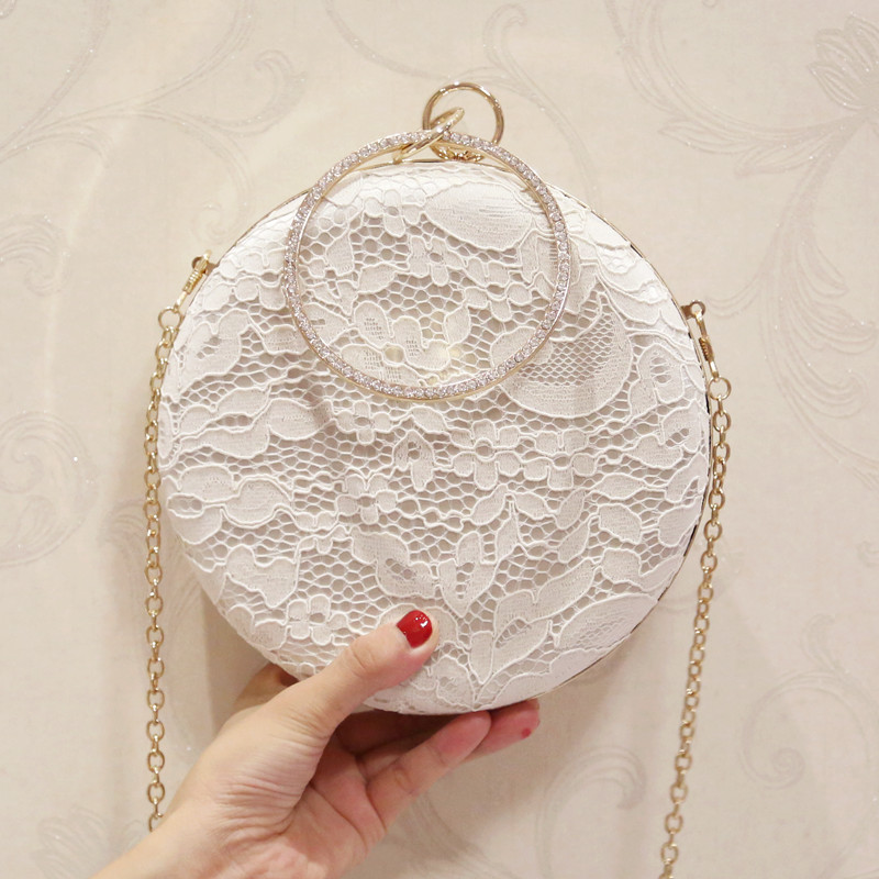 Summer wedding handabag circular chain bag small bags fashion all-match 2017 messenger bag mini lace day clutch dinner party bag all summer long