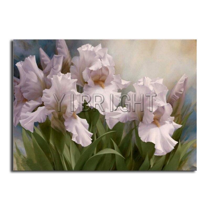Full Round Diamond Embroidery Cross Stitch Flower Full Square Diamond Painting White Iris DIY 3D Diamond Mosaic Landscape