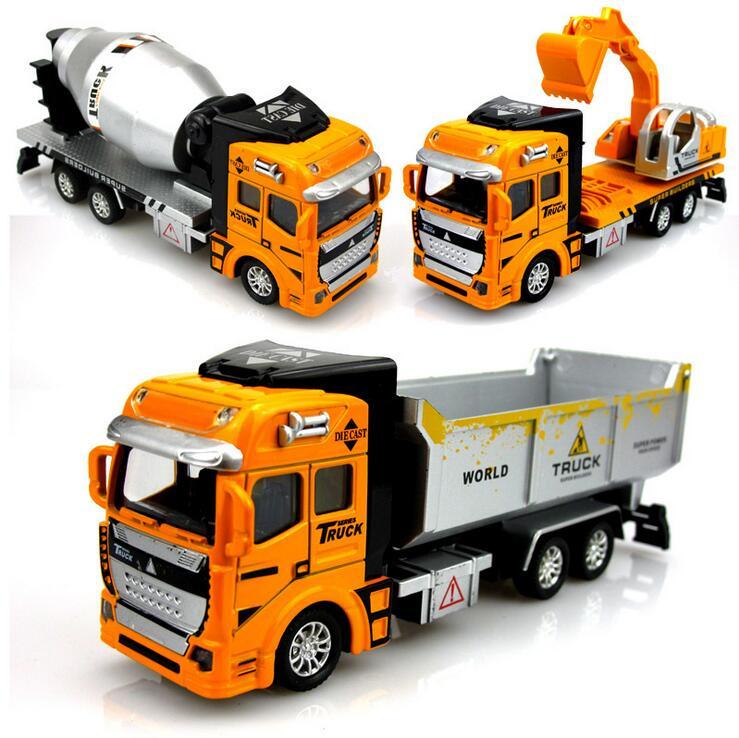 New 1:48 Pull Back Alloy Car Engineering Truck Model